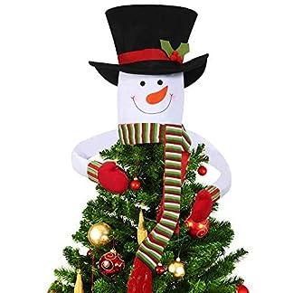 Deggodech-Weihnachtsbaumspitze-Schneemann-Weihnachtsbaum-Topper-Schneemann-Hugger-mit-Wei-Hut-und-Rot-Schal-fr-Weihnachten-Baumspitze-Winterwunderland-Dekoration