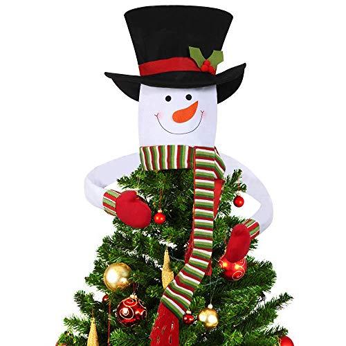 Deggodech Weihnachtsbaumspitze Schneemann Weihnachtsbaum Topper Schneemann Hugger mit Weiß Hut und Rot Schal für Weihnachten Baumspitze Winterwunderland Dekoration (Large)