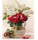 LIWEIZUAN Runder Bohrer 5D Voller Diamant Malerei Kreuzstich Glas Vase Diamant Stickerei Muster Diamant Mosaik Rote Blumen Bild Strass Pasten 40X50Cm