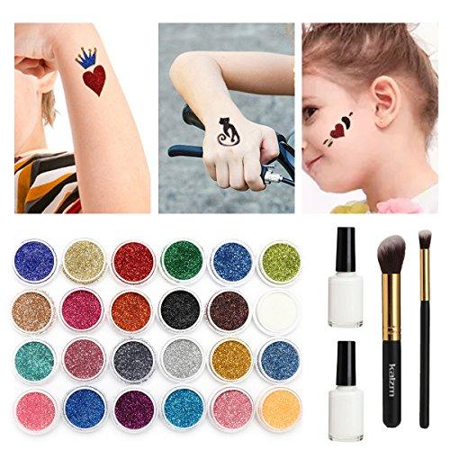 re Glitzer Tattoo Make Up Körper Glitzer Körper Kunst Design für Kinder Teenager Erwachsene, mit 24 Farben der Glitzer, 108 Blatt Einzigartig Themed Tattoo Schablone (Halloween Tattoo)