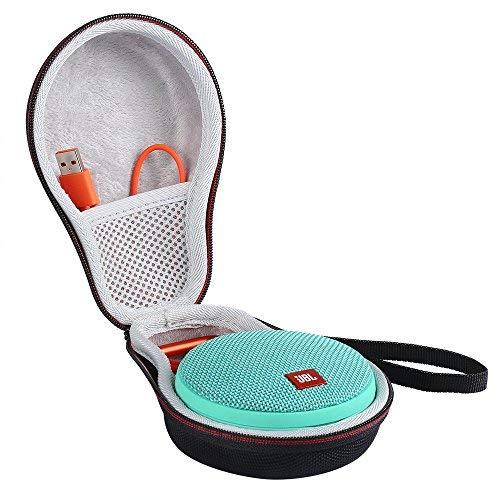 Shucase EVA Hartschalentasche für JBL Clip 2 Wasserdichter Tragbarer Wiederaufladbarer Lautsprecher. Passend für USB-Kabel und Ladegerät(Schwarz)