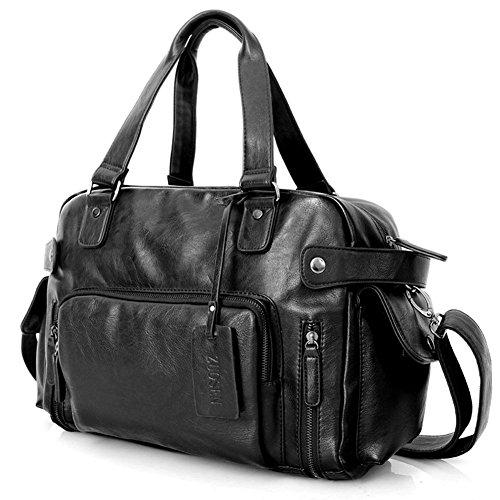 Everdoss Hommes sac de messager en cuir PU sac à main sac en bandoulière sac d'ordinateur voyage loisirs populaire commercial