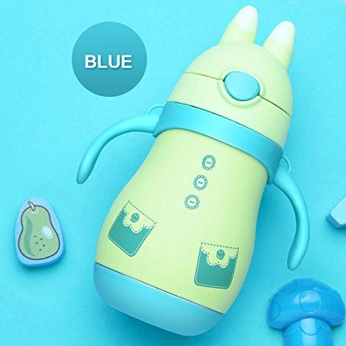 Kleinkind-cup Edelstahl (Baby Thermo Cup Kaninchen Edelstahl Kid isoliert Thermos Flasche für Wasser Kleinkind Thermo Tasse mit Stroh Isolierflasche Tumbler, blau)