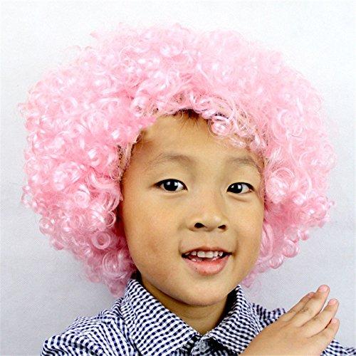 Dosige Fanático del fútbol Peluca de payaso Peluca de pelo adultos adulto mascarada partido del pelo de Halloween Navidad Cosplay sombrero traje peluca(Rosa)