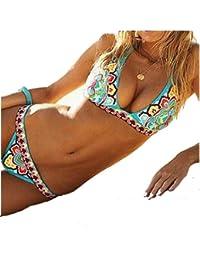 Vip-erotic bikini bleu turquoise motifs ethniques super sexy 2 pièces taille S et M 36 38