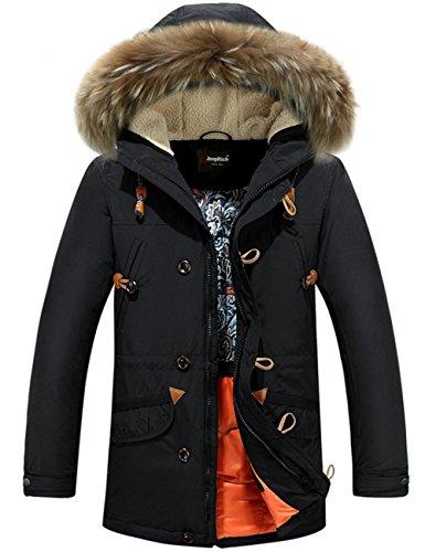 Menschwear Herren Winter Warme Jacke Daunenjacke Daunenjacke mit abnehmbarem Pelzkragenskapuze schlanke Passform (X-SSchwarz)