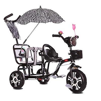 HQSF Carrito de bebé Triciclo para niños Doble Carro de bebé Doble Portátil 1-3-6 años Carro de bebé Grande con empuñadura Luz de música y Paraguas