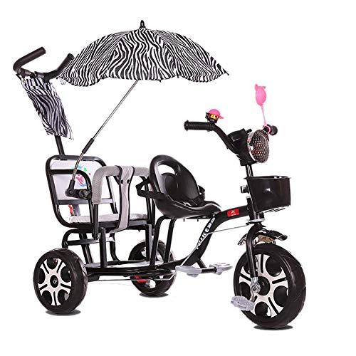 HQSF Carrito de bebé Triciclo para niños Doble Carro de bebé Doble Portátil 1-3-6 años...