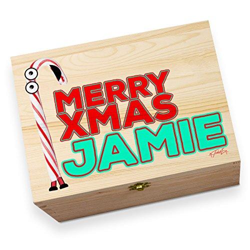 Personalisierte Cartoon Weihnachten Candy Cane großes bedruckt Christmas Eve Box (Candy Cane Große)