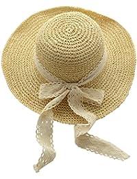 e6fad205d96 YJZQ Women Girls Floppy Straw Sun Hat Foldable Wide Brim Beach Cap Panama  Hats Summer UV ...