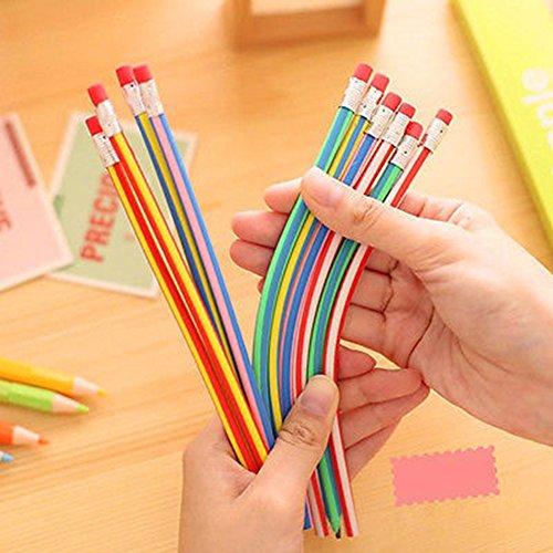 FOReverweihuajz Bunte 5 Stück Soft Magic flexible Bendy Bleistifte Stift mit Radiergummi Kinder-Studien Geschenk