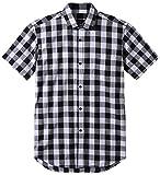 JEETOO Classics Herren Slim Kariert Kurzarm Hemd Freizeit Hemd Baumwolle Button-down Modern Hemd, (XX-Large, Weiß und Schwarz)
