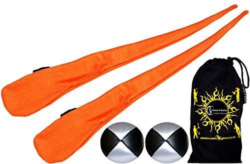 Flames N Games Pro Socke Poi (orange) Hohe Qualität Dehnbar Röhre Poi Socken + 2x 90gr Bälle & Reisetasche.