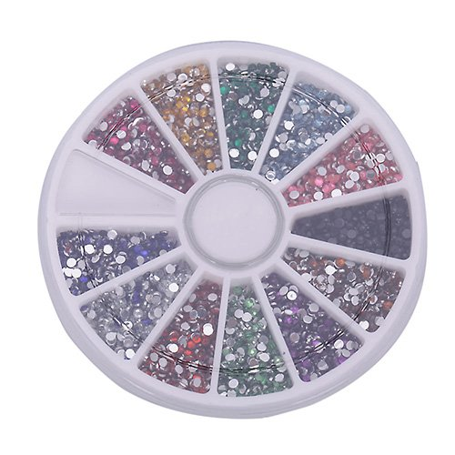 Nouvelle Roue 2.0mm 12 Couleurs Ongles d'Art Tips Scintillement Gamme Ronde