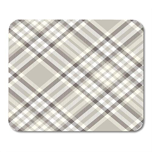 Mouse Pads Coffee Beige Border Plaid Check Pattern in Taupe Grey Brown Pale Yellow and White Gray Checker Color Mouse Pad Pink Plaid Checker