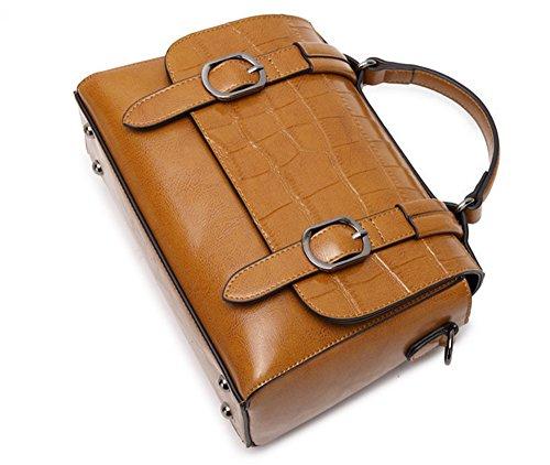 XinMaoYuan Ladies borsetta pacchetto postale borsa tracolla in pelle paragrafo orizzontale colore solido coperto Zipper Bag,giallo Giallo