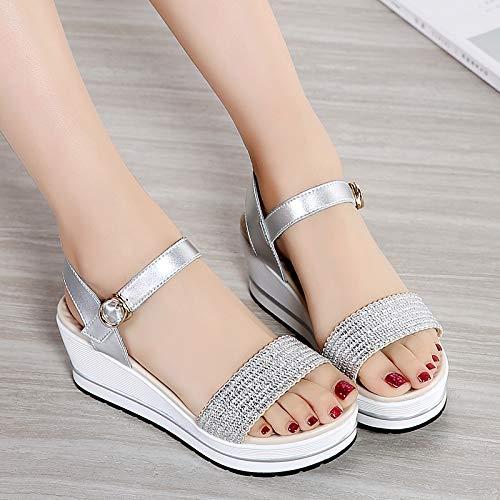 Uhrtimee 2019 Sommer Neue Damen Sandalen keil mit plattform Frauen Schuhe Studenten flachknopf gewebt Sandalen weiblich, 39, Silber Plattform Thong Sandal
