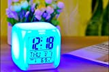 #9: CPEX Digital Alarm Thermometer Night Glowing Cube 7 Colors Clock LED Change LCD for Bedroom Child
