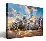 Cuadro Canvas Calle de Alcalá de Madrid - 75cm x 55cm - Fabricado en España