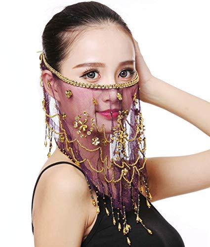 Tänzerin Harems Kostüm - Grouptap Bauchtanz Halbgesichtsschleier Kostüm mit goldenen Perlen Klee für die Mädchen der Frauen arabischer ägyptischer Tanz (Violett)