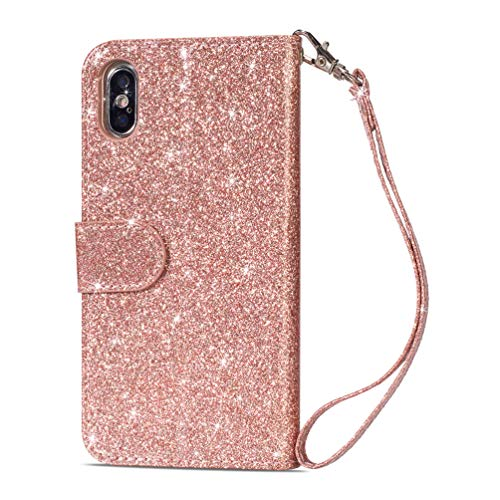 LaVibe Coque iPhone XS Max 6.5 Pouces, Housse en Cuir PU Leather Etui Portefeuille à Rabat Glitter Clapet Support Fermeture éclair Porte Video Stand, Flip Wallet Protective Case Cover–Or Rose