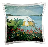 3dRose pc_126478_1 Flower Garden and Bungalow In Bermuda ocean Landscape - pillow Case, 16 by 16""