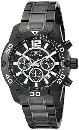 Invicta Men's Pro Diver 45mm Black IP Steel Bracelet & Case Flame-Fusion Crystal Quartz Watch 21488