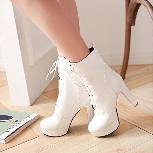 ZQ@QX Autunno e Inverno europea e americana Testa rotonda spessa con dispositivo di ritenuta è grande, scarpe con i tacchi alti e stivali Stivali Stivali femmina white