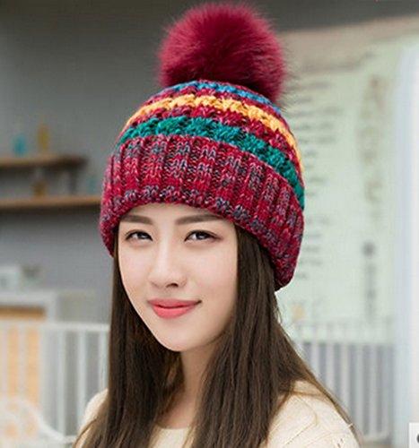 Hiver Cap Femme Version Coréenne Fashion Spell Couleur tricot Cap Épaissir Cachemire Garder Chaud Hiver Ms Lovely Chapeau D'hiver ( couleur : B ) D