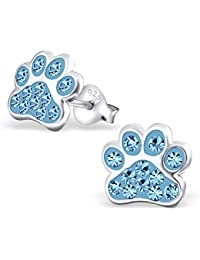 Blue Paw Print Earrings - Sterling Silver with Crystal Stones