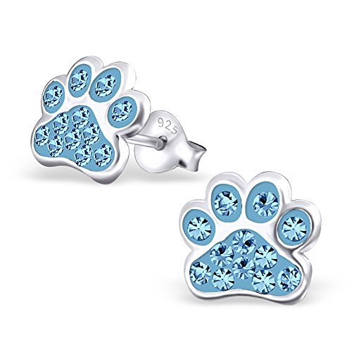 Kristall-braut-handtasche (925 Silber Kinder-Ohrstecker Hunde-Pfoten Ohrringe mit 24 funkelnden Kristallen in verschiedenen Farben von Monkimau, Kinderschmuck, Tatzen (Hellblau))
