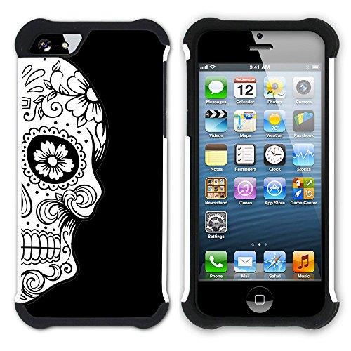 Graphic4You Mexikanische Zuckerschädel Tod (Wasserblau) Hart + Weiche Kratzfeste Hülle Case Schale Tasche Schutzhülle für Apple iPhone SE / 5 / 5S Schwarz