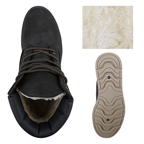 Stiefelparadies Damen Stiefeletten Warm Gefütterte Worker Boots Outdoor Schuhe Flandell Grau Carlet