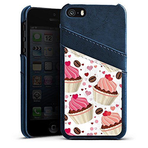 Apple iPhone 4 Housse Étui Silicone Coque Protection Tarte Gâteau Café et gâteau Étui en cuir bleu marine