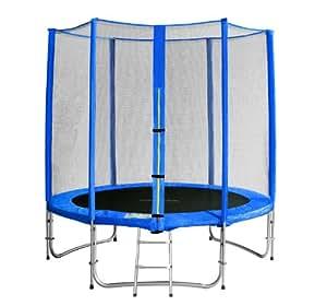 SixBros. Sixjump 1,85 M Trampoline de jardin bleu - Filet de sécurité - Échelle - Housse de protection - CST185/L1573