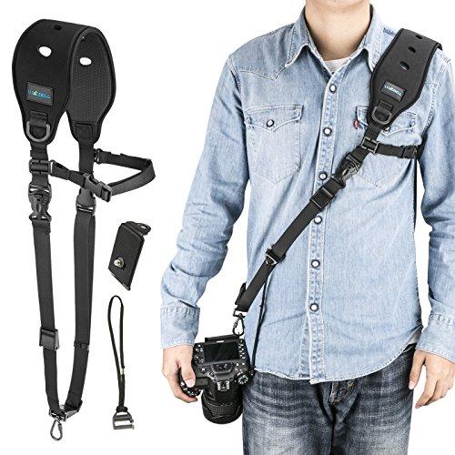 Luxebell Kameragurte leder Schultergurt schnellwechselplatte für Canon, Nikon, Sony, Panasonic, Pentax, Fujifilm, Ricoh Imaging, Schwarz Tragegurt (Leder Gurt Pad Strap)
