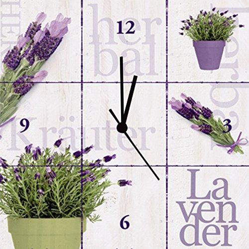 Artland Wand-Funk-Analog-Uhr Digital-Druck Leinwand auf Holz-Rahmen gespannt mit Motiv Jule Lavendel Botanik Pflanzen Topfpflanze Fotografie Weiß D1KI