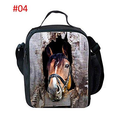 Meijunter Animal Horses All'aperto Refrigeratore Termico Scuola Picnic Borsa per il pranzo Tote Box Container With Bottle Pocket Per Adulti And Bambini #04