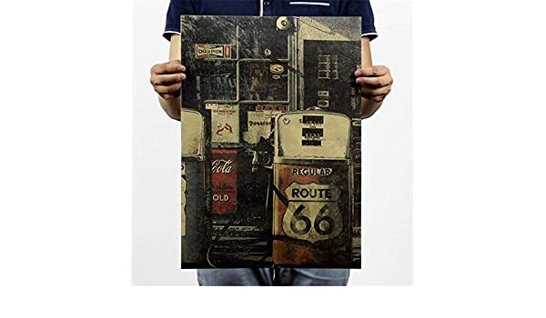 BOENTA Affiche Vintage Poster R/étro Vintage Affiche De Papier Kraft /États-Unis Route 66 Station Dessence Moto Vieux Style Affiche Peinture D/écorative 51.5X36cm 01
