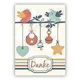 Grußkarten Set (10Stk) Süße Dankeskarte zur Geburt eine Babys mit Herz, Vögeln, Lätzchen und Schnuller: Danke - auch für Firmenkunden und Mitarbeiter