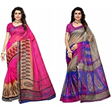 Fabwomen Sarees Floral Print Multi Coloured Cotton Art Silk Traditional Festive Wear Women's Sarees Combo.(Pack of 2)