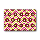 Donut Art Pattern With Colorful Chevron Background Non-slip Doormat,Floor Mat Door Mat Rug Indoor/Outdoor/Front Door/Bedroom Mats 23.6(l) X 15.7(w) Inch
