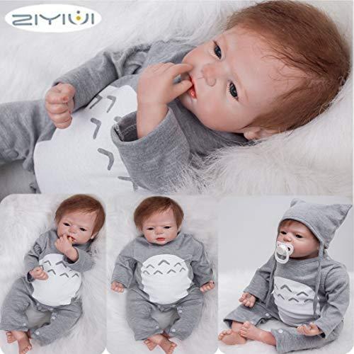 ZIYIUI 20-22 Zoll Reborn Babypuppe Realistisch 55 cm Neugeborene Reborn Silikon Weichkörper Lebensechtes Reborn Babys öffnen Augen Reborn Puppen Geschenke Geburtstag (2)