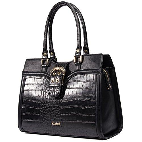 Kadell Damen Luxus Handtasche Umhängetasche Für Arbeiten PU Leder Top-Griff Totes Schwarz (Luxus Leder Gepäck)