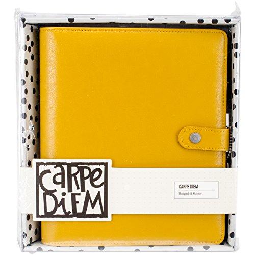 Unbekannt Carpe Diem Ringelblume Planer, gelb, A5 Echt Leder Snap