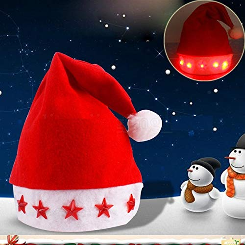 Toyshine 12 Pcs LED Christmas Hats, Santa Claus Caps for Kids and Adults, Free Size, Xmas Caps