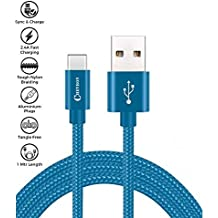 Chevron Micro USB to USB Premium Nylon Braided (1 Meter/ 3.3 Feet) Cable - with Quick Charging (2.4 Amp) and High Speed Data Sync - Blue