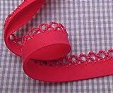 1m Schrägband mit Häkelborte uni pink 35