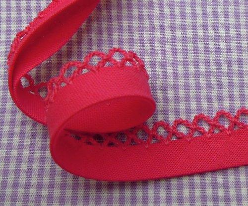 1m Schrägband mit Häkelborte uni pink 35 (Rosa Rick Rack)