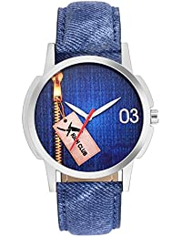 Rich Club Exellent Jeans Dial And Jeans Fabric Strap Analog Watch For Men And Boys